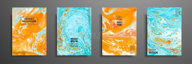 Sistema colorido del diseño de las cubiertas con texturas Primer de la pintura Fondo pintado a mano brillante abstracto, pintura  ilustración del vector
