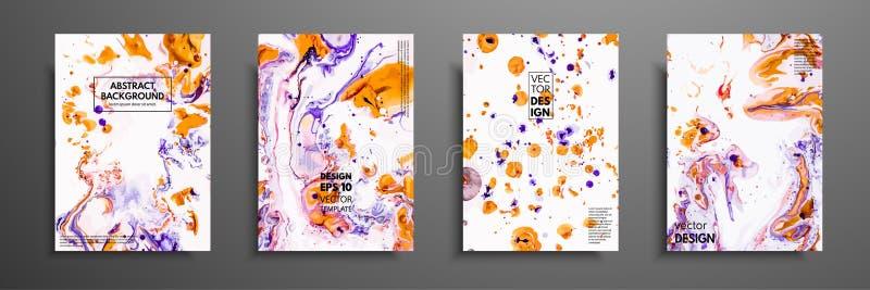 Sistema colorido del diseño de las cubiertas con texturas Primer de la pintura Fondo pintado a mano brillante abstracto, pintura  stock de ilustración