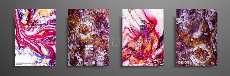 Sistema colorido del diseño de las cubiertas con texturas Primer de la pintura Fondo pintado a mano brillante abstracto, pintura  libre illustration