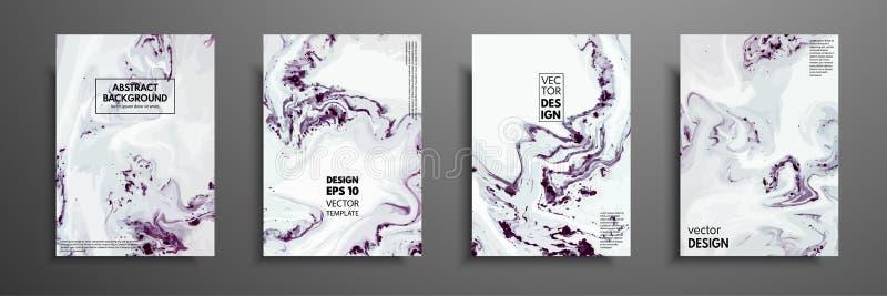 Sistema colorido del diseño de las cubiertas con texturas Primer de la pintura Fondo pintado a mano brillante abstracto, flúido ilustración del vector