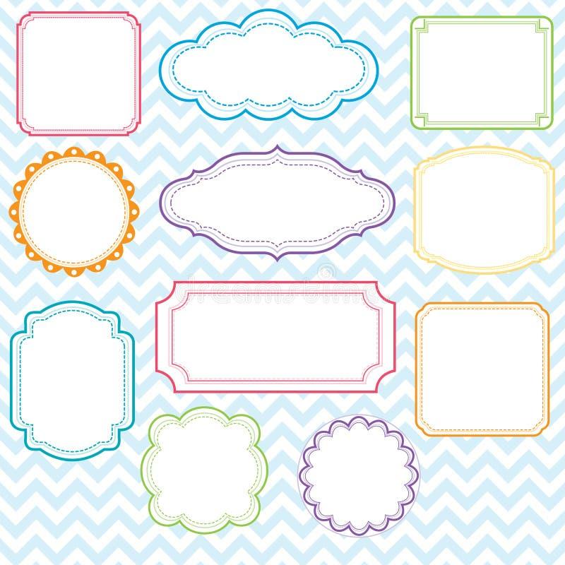 Sistema colorido del diseño de los marcos stock de ilustración