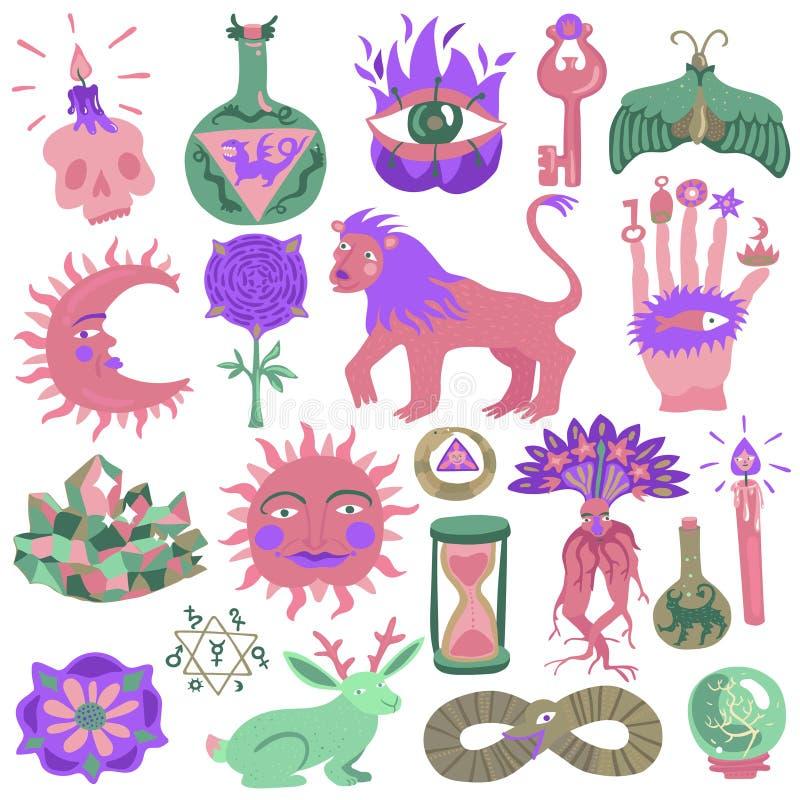 Sistema colorido del diseño del tatuaje stock de ilustración
