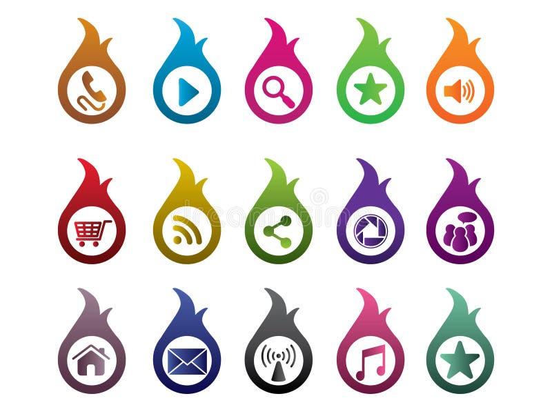 Sistema colorido del icono del fuego libre illustration