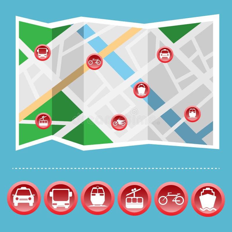 Download Sistema Colorido Del Icono Del Transporte En El Mapa Ilustración del Vector - Ilustración de diseño, barco: 64211077