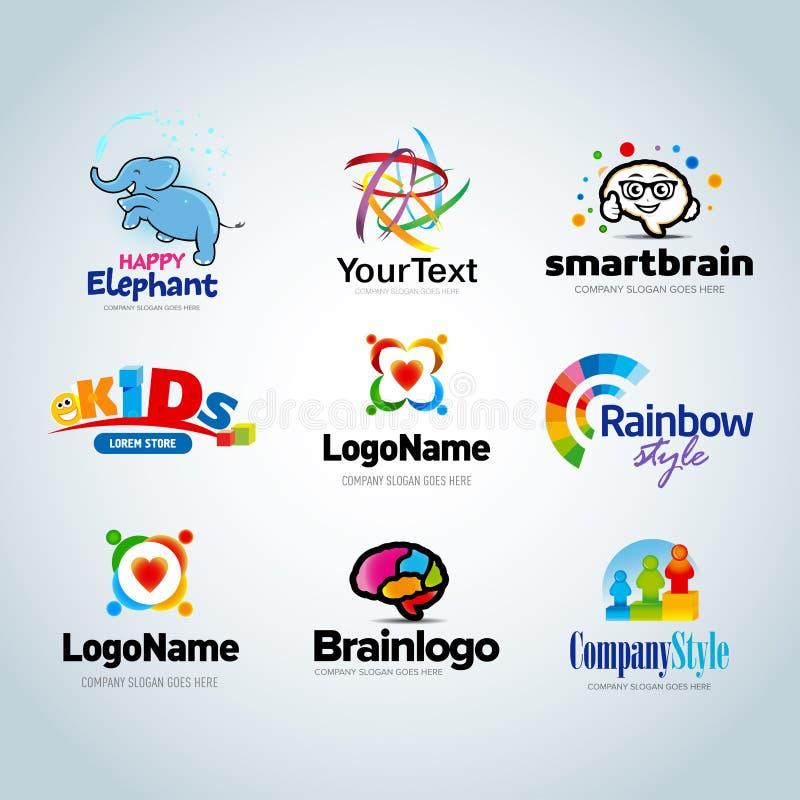 Sistema colorido del logotipo, colección del logotipo, logotipo de la idea, colección del logotipo de los niños, logotipo de la f stock de ilustración
