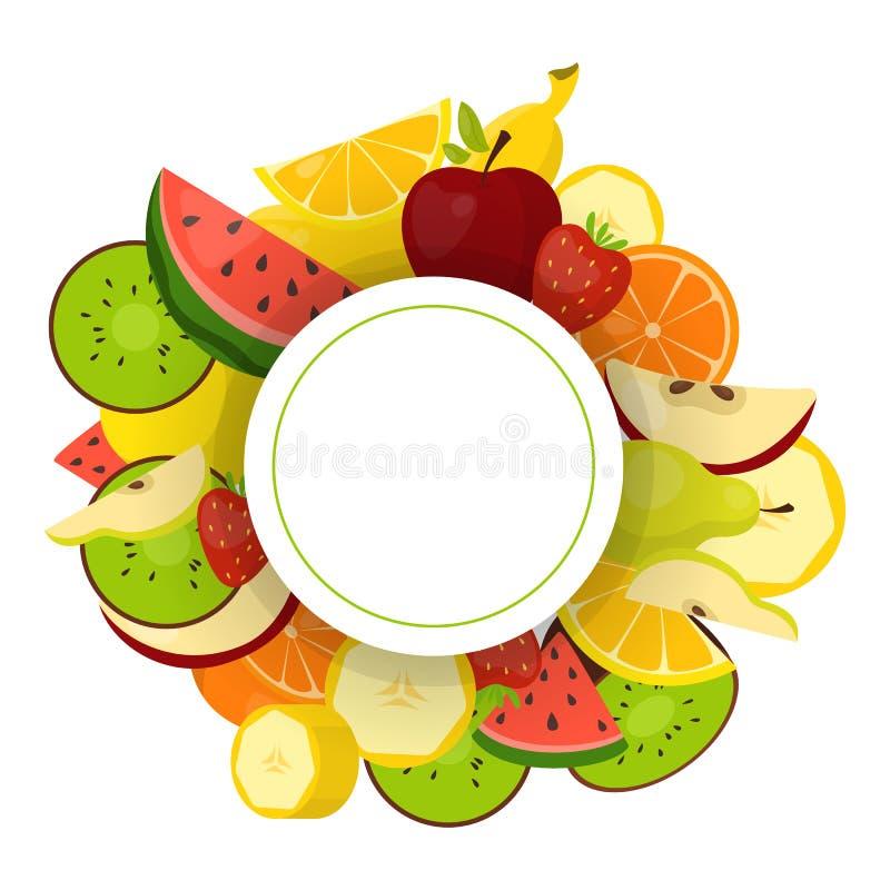 Sistema colorido del marco de la fruta Colecci?n de fondo tropical stock de ilustración
