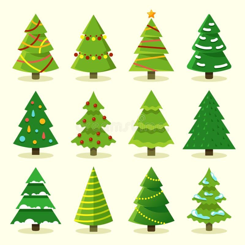 Sistema colorido del vector del árbol de navidad de la historieta del invierno stock de ilustración