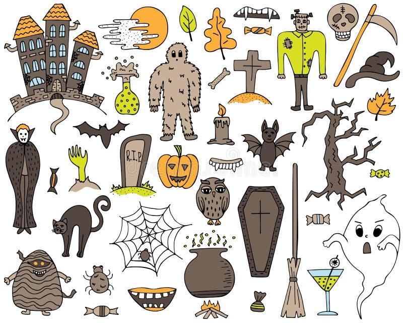 Sistema colorido del vector con los garabatos a mano de Halloween libre illustration