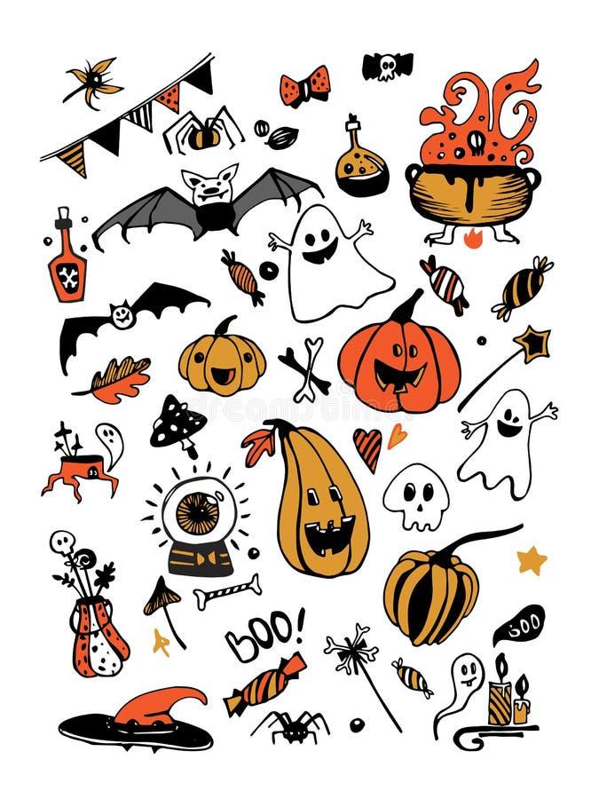 Sistema colorido del vector grande con los elementos de Halloween, incluyendo las calabazas, setas, dulces, cráneos, palos, venen ilustración del vector