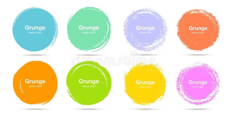 Sistema colorido exhausto del bosquejo del cepillo del círculo de la mano Garabatos circulares del grunge del vector para la marc ilustración del vector