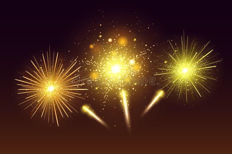 Sistema colorido festivo brillante de los fuegos artificiales Ejemplo realista de los fuegos artificiales del vector Fuego artifi libre illustration