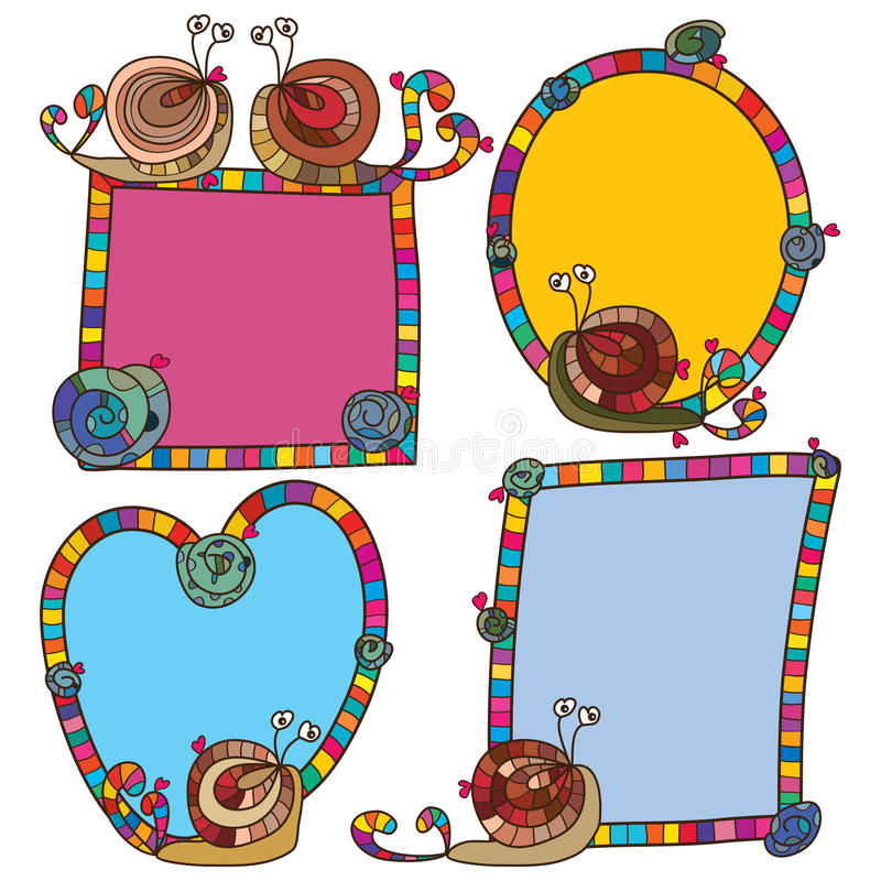 Sistema colorido loco del marco del caracol ilustración del vector