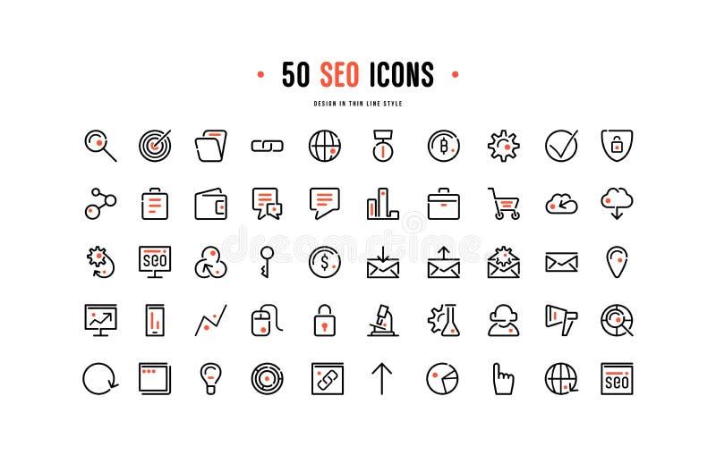Sistema común del vector de iconos de la optimización del seo stock de ilustración