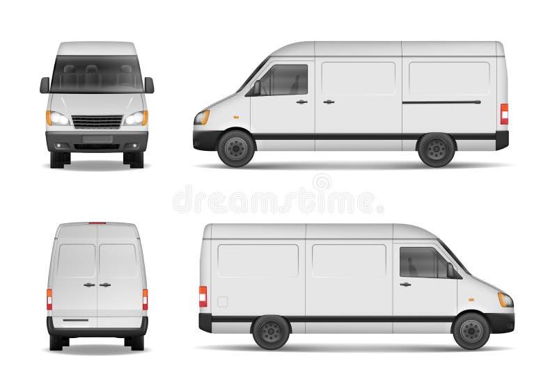 Sistema comercial aislado del vehículo de entrega Plantilla blanca de van vector para el coche que califica y que hace publicidad stock de ilustración