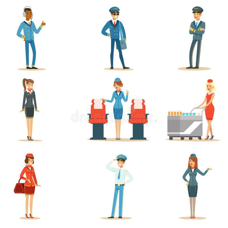Sistema comercial del equipo del tablero del vuelo de profesionales del transporte aéreo que trabajan en el avión, las azafatas y stock de ilustración