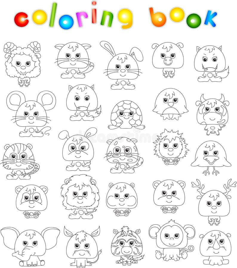 Sistema completo de animales divertidos de la historieta stock de ilustración