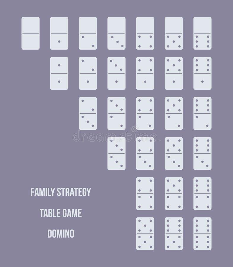 Sistema completo de dominós, juego de la lógica de la tabla, dado, estrategia de la familia ilustración del vector