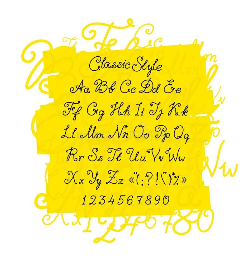 Sistema completo de la fuente manuscrita Vector Aislado en blanco Fuente caligráfica clásica Las letras son símbolos para el dise libre illustration