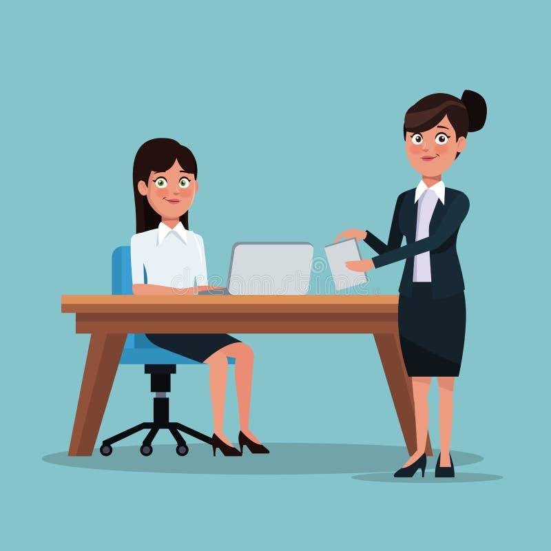 Sistema completo del cuerpo del fondo del color de las mujeres ejecutivas en lugar de trabajo y escritorio con el ordenador portá ilustración del vector