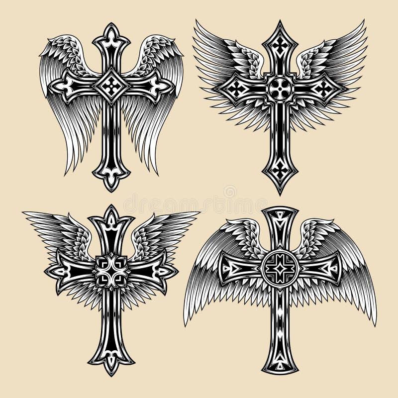 Sistema con alas de la cruz ilustración del vector
