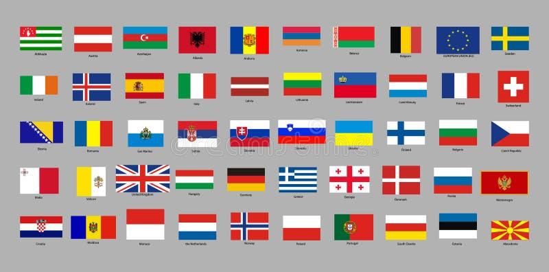 Sistema con de banderas de países europeos ilustración del vector