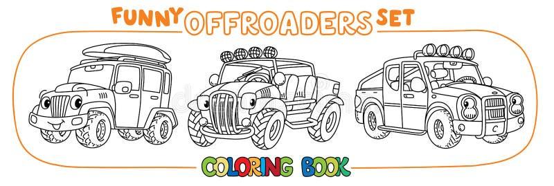 Sistema con errores divertido del coche o del libro de colorear del outroader stock de ilustración