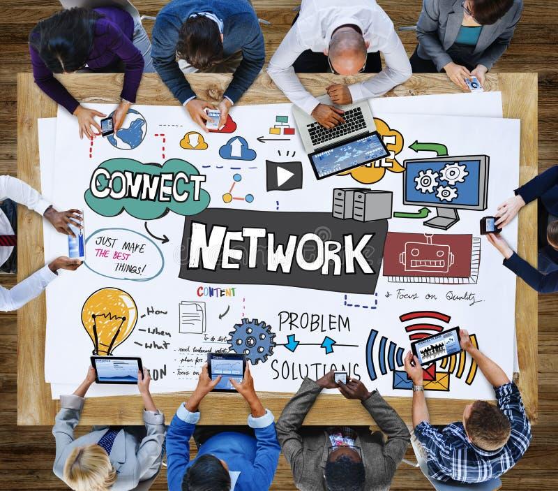 Sistema Conce di tecnologia del collegamento delle comunicazioni globali della rete fotografia stock libera da diritti