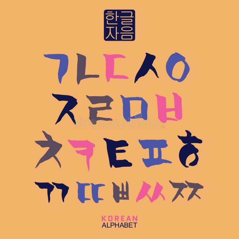 Sistema coreano del alfabeto stock de ilustración