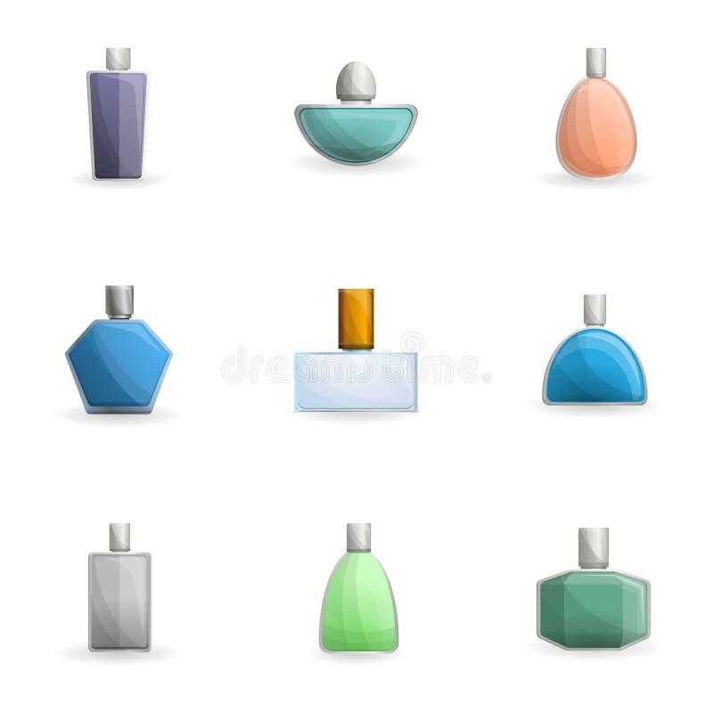 Sistema cosmético del icono de la botella de perfume, estilo de la historieta stock de ilustración