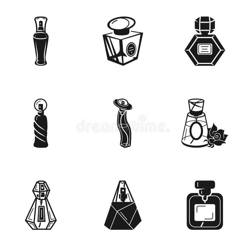 Sistema cosmético del icono de la botella de perfume, estilo simple ilustración del vector