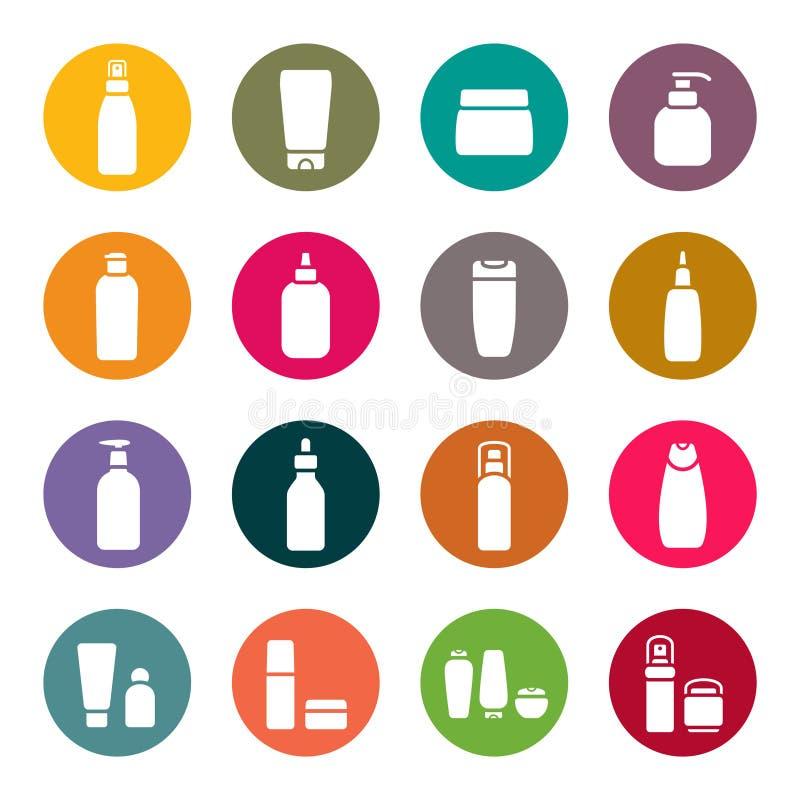 Sistema cosmético del icono de los frascos ilustración del vector