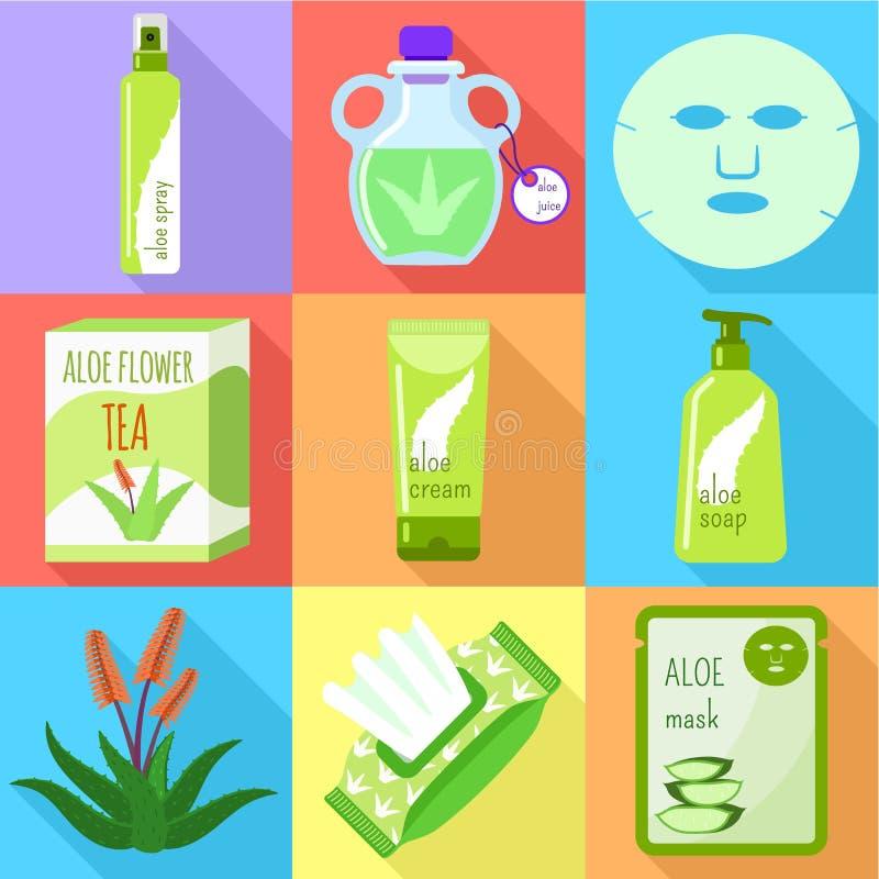 Sistema cosmético del icono de Vera del áloe, estilo plano libre illustration
