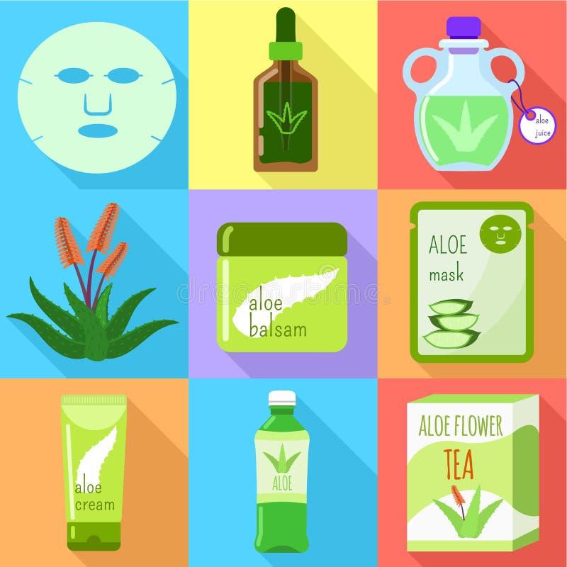 Sistema cosmético orgánico del icono de Vera del áloe, estilo plano libre illustration