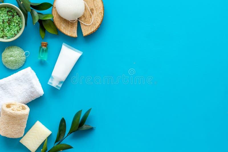 Sistema cosmético orgánico herbario para el balneario hecho en casa en maqueta flatlay del fondo azul fotos de archivo