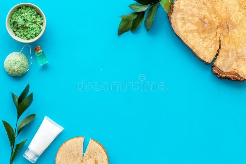 Sistema cosmético orgánico herbario para el balneario hecho en casa en maqueta flatlay del fondo azul imágenes de archivo libres de regalías