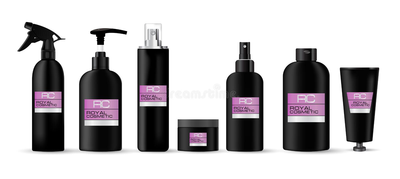 Sistema cosmético realista de la maqueta del envase hecho en colores negros con un cosmético real de la etiqueta rosada fotos de archivo libres de regalías