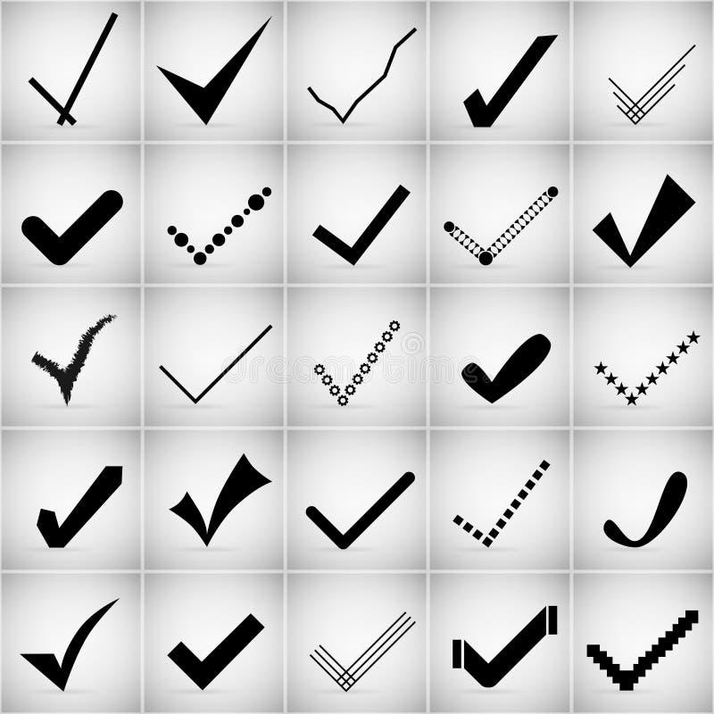 Sistema creativo abstracto del icono del vector del concepto de las marcas de verificación para el web y las aplicaciones móviles stock de ilustración