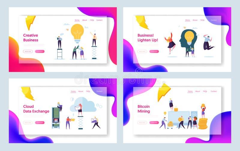 Sistema creativo de la página del aterrizaje del concepto del carácter de la idea del negocio Trabajo en equipo de la gente del é libre illustration