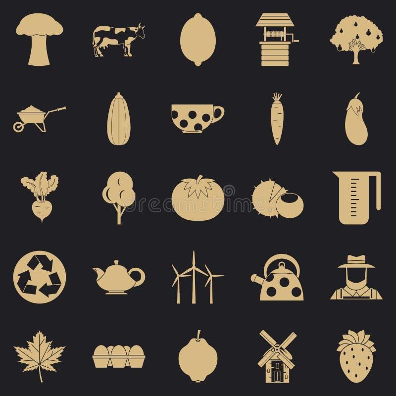 Sistema crecido de los iconos de la comida, estilo simple ilustración del vector