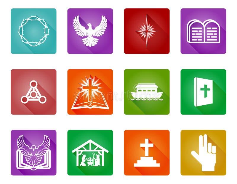 Sistema cristiano del icono stock de ilustración