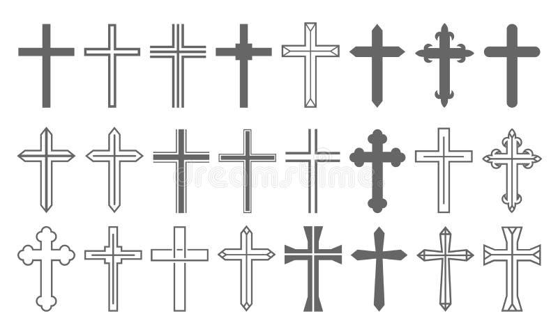 Sistema cruzado Christian Icon Collection stock de ilustración