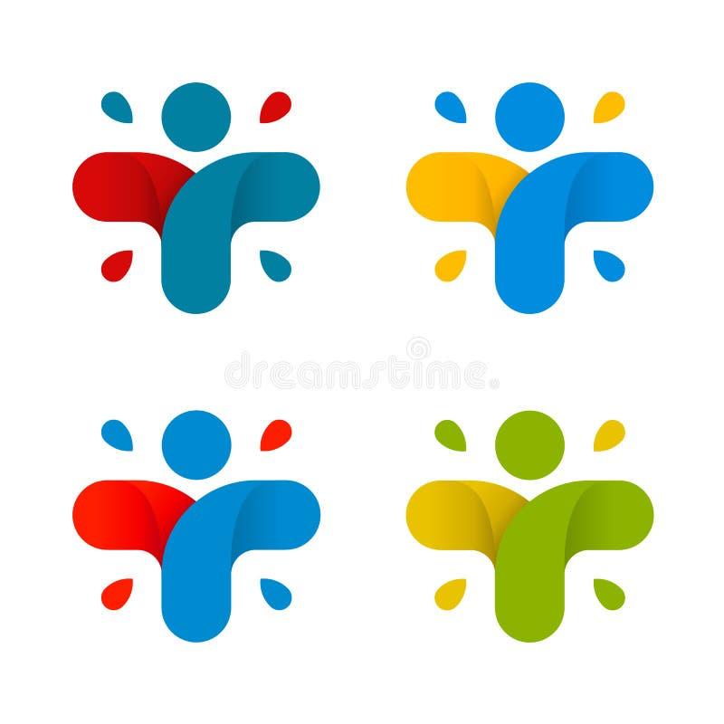 Sistema cruzado colorido abstracto aislado del logotipo Colección humana del logotipo de la silueta Icono médico muestra religios stock de ilustración