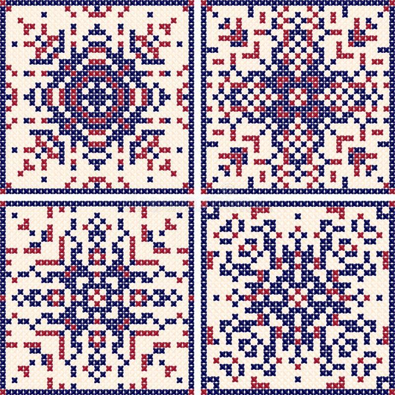 Sistema cruzado de la puntada del modelo Modelos escandinavos, modelos para el bordado fondo Rojo-azul Ilustración EPS10 del vect libre illustration
