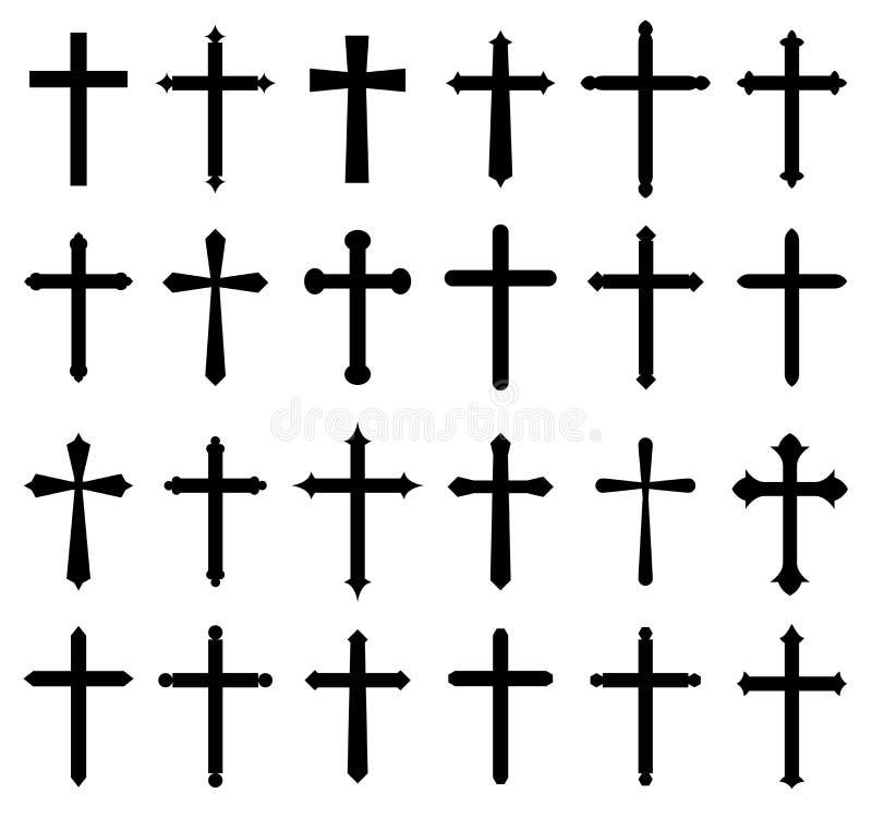 Sistema cruzado del icono de la religión ilustración del vector