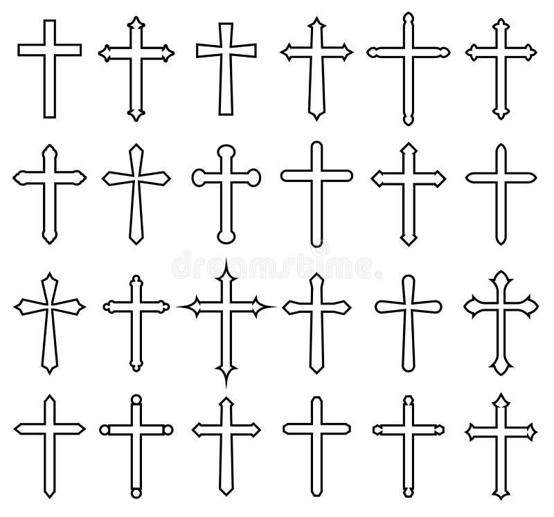 Sistema cruzado del icono de la religión stock de ilustración