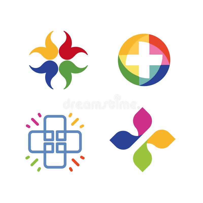 Sistema cruzado inusual del logotipo del vector Símbolo de la atención sanitaria Colección cruzada colorida de los logotipos stock de ilustración