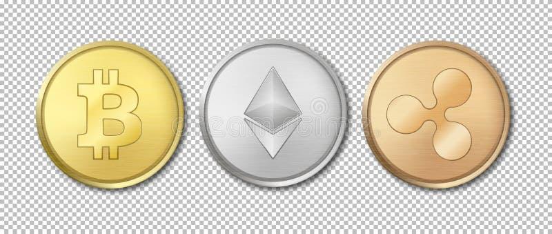 Sistema crypto del icono de la moneda de la moneda del vector realista Bitcoin, Etherium, ondulación Tecnología de Blockchain Pri stock de ilustración