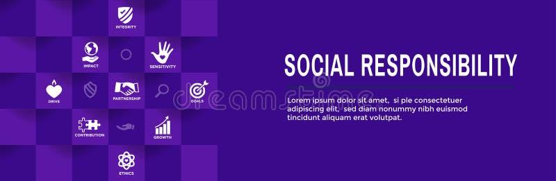 Sistema CSR-corporativo del icono del esquema de la responsabilidad social - portada de la web ilustración del vector