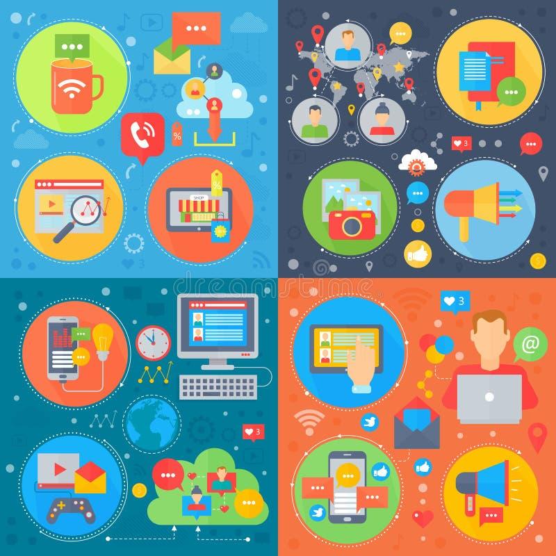 Sistema cuadrado de los conceptos de los medios sociales, compras móviles en línea, red social de los medios, vector de comercial ilustración del vector