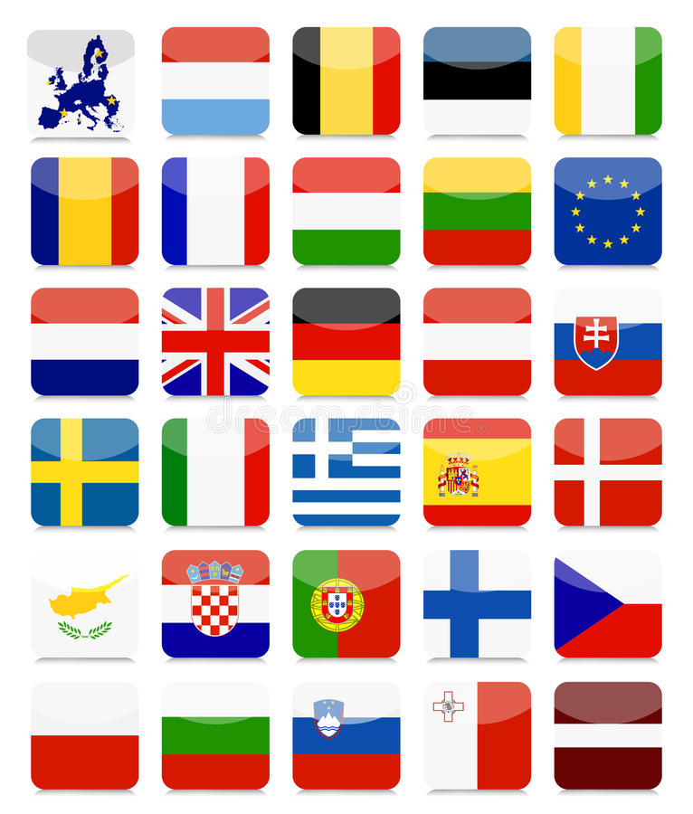 Sistema cuadrado plano del icono de las banderas de la UE ilustración del vector
